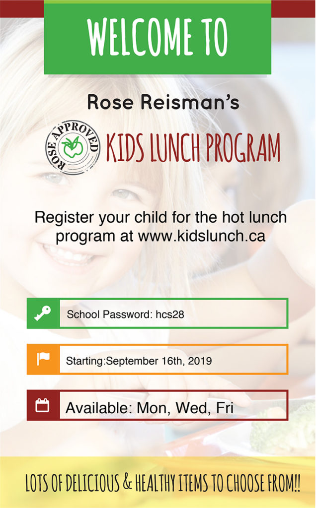 Welcome to Rose Reisman's KIDS LUNCH PROGRAM -- click to Register